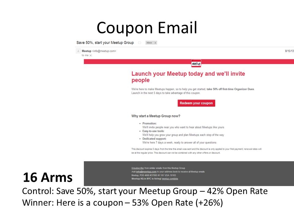Coupon Email 16 Arms. Control: Save 50%, start your Meetup Group – 42% Open Rate.