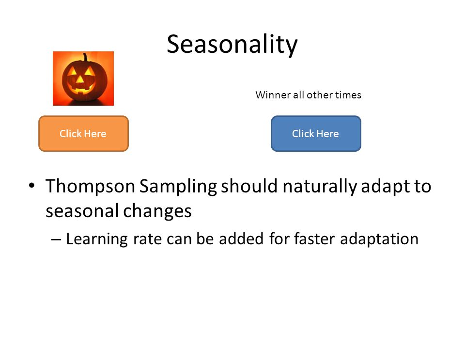 Seasonality Thompson Sampling should naturally adapt to seasonal changes. Learning rate can be added for faster adaptation.