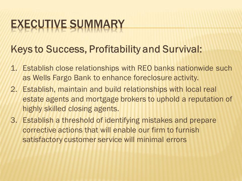 Executive Summary Keys to Success, Profitability and Survival: