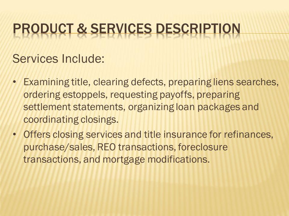 Product & Services Description
