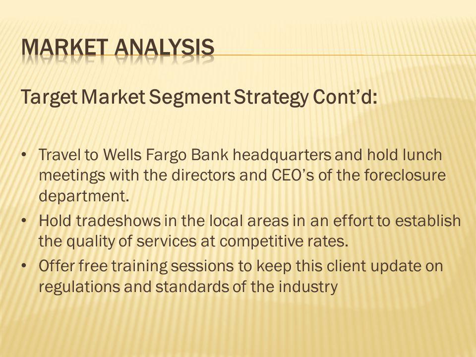 Market Analysis Target Market Segment Strategy Cont'd: