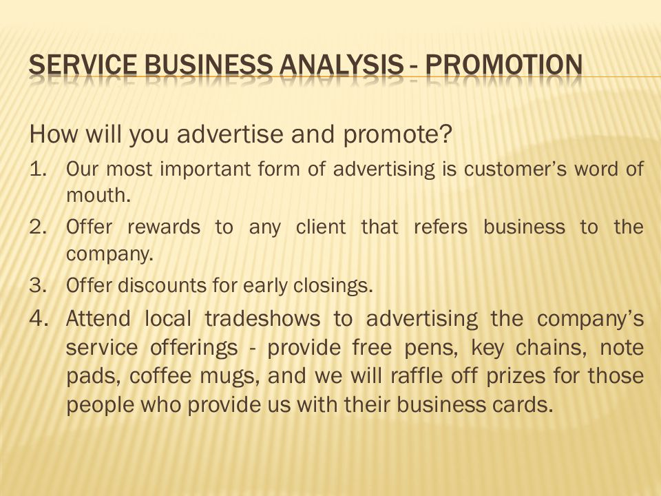 Service Business Analysis - Promotion