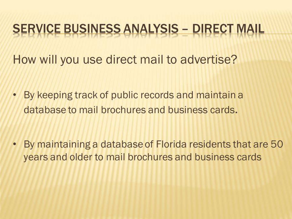 Service Business Analysis – Direct Mail