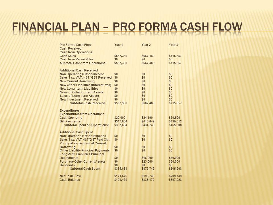 Financial Plan – Pro Forma Cash Flow