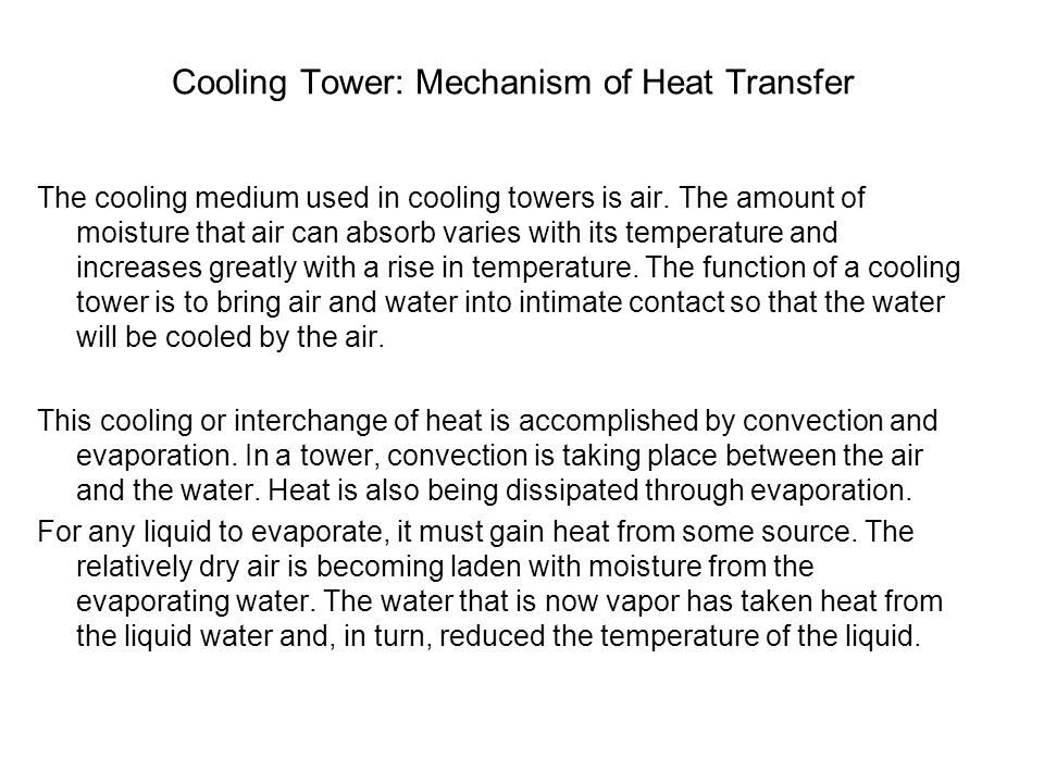 Cooling Tower: Mechanism of Heat Transfer