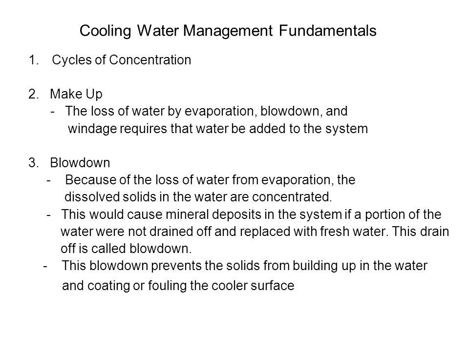 Cooling Water Management Fundamentals
