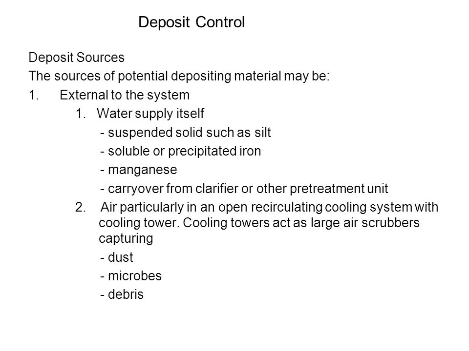 Deposit Control Deposit Sources