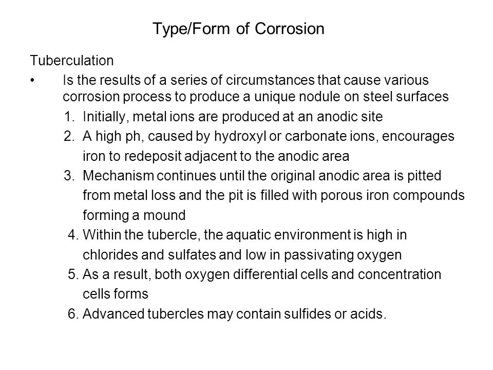 Type/Form of Corrosion