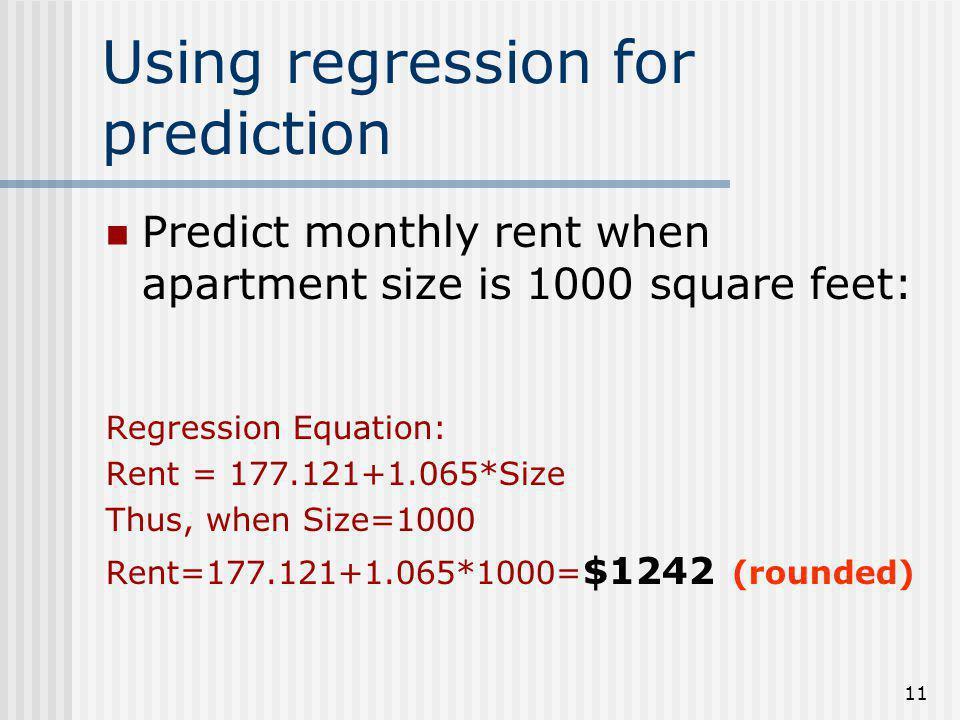 Using regression for prediction