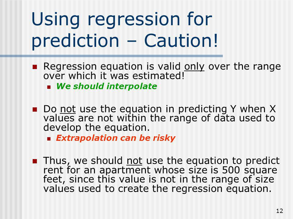 Using regression for prediction – Caution!