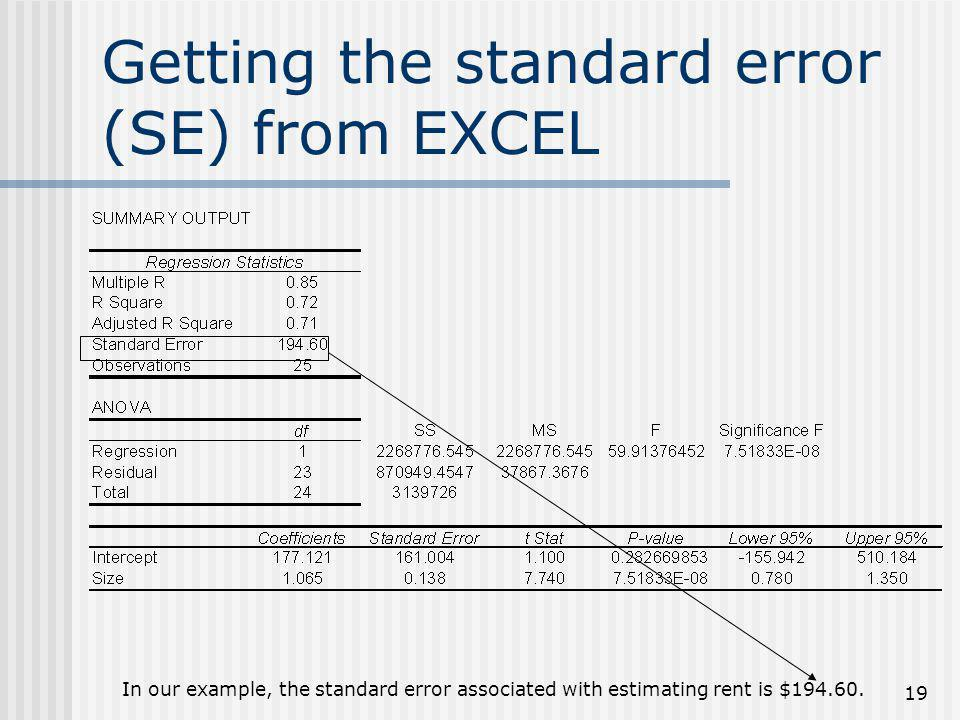 Getting the standard error (SE) from EXCEL