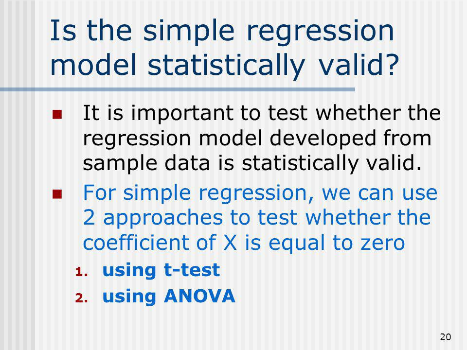Is the simple regression model statistically valid