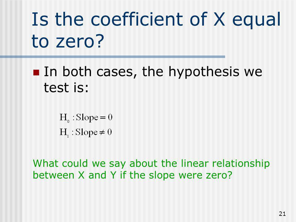 Is the coefficient of X equal to zero