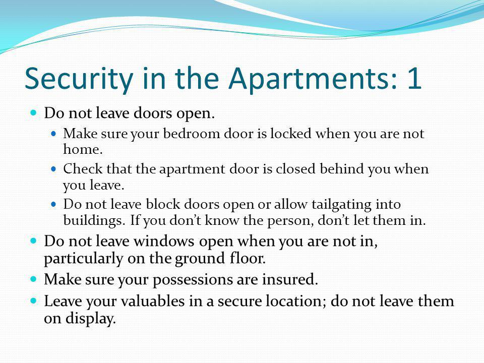 Security in the Apartments: 1