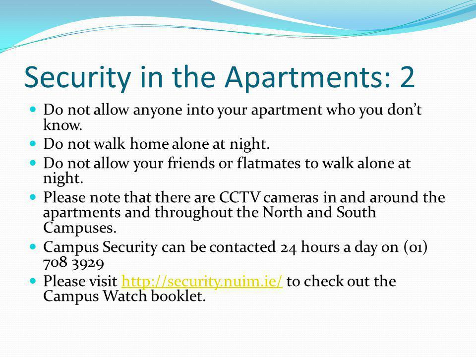 Security in the Apartments: 2