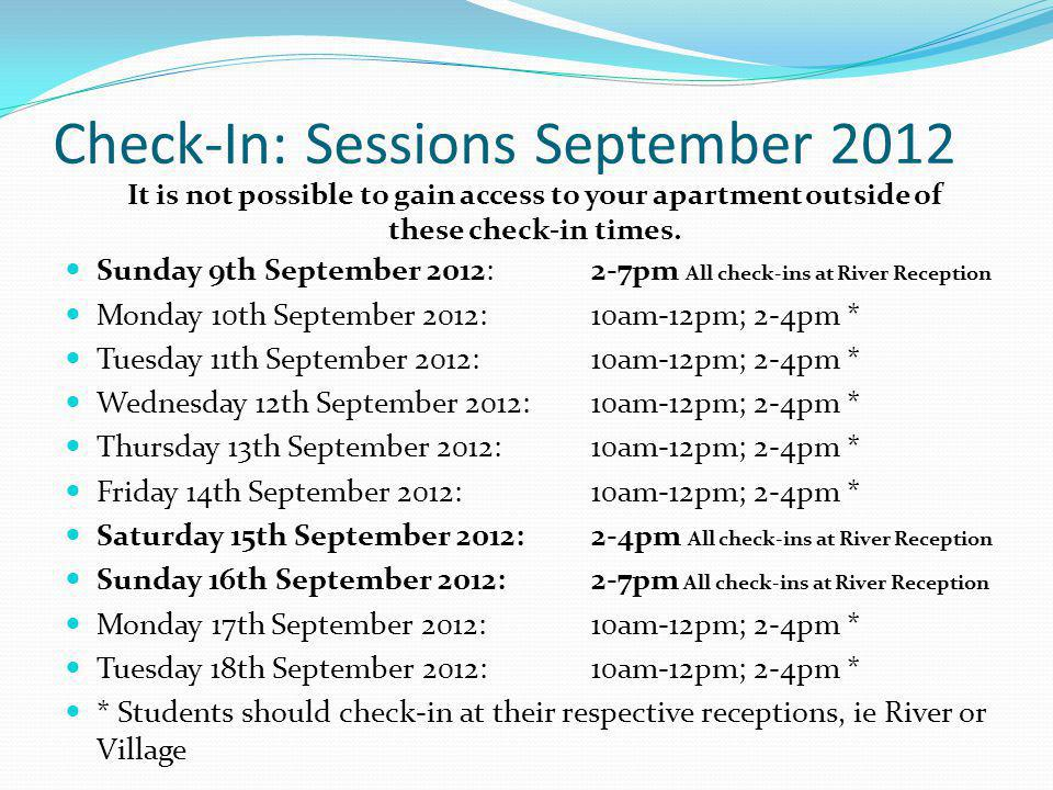 Check-In: Sessions September 2012