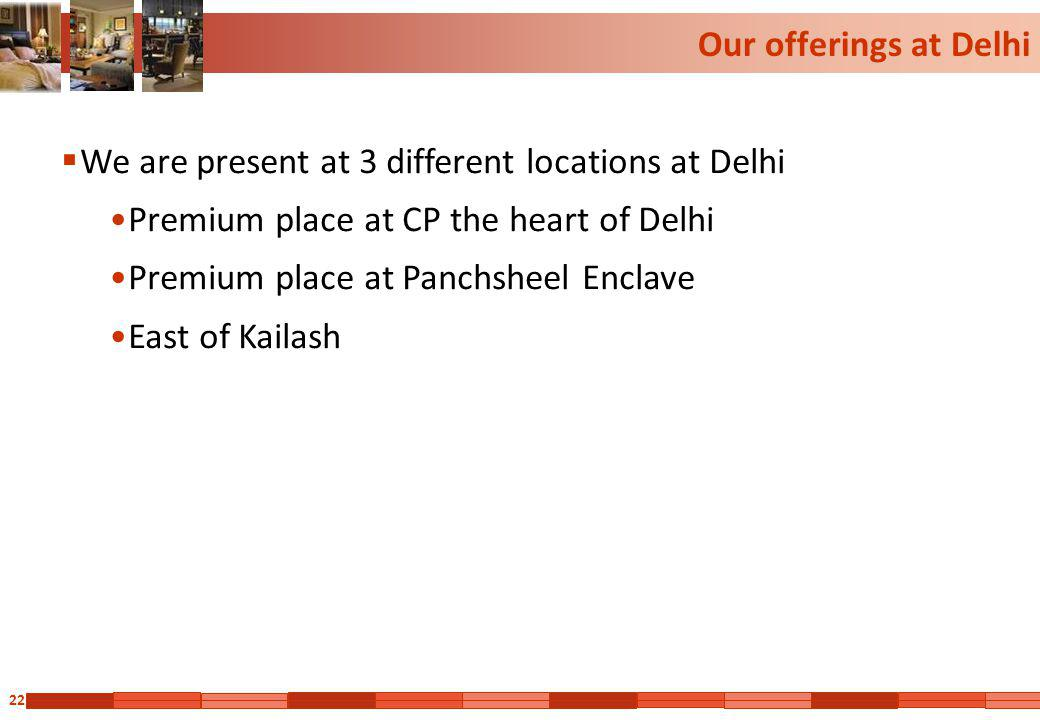 Our offerings at Delhi We are present at 3 different locations at Delhi. Premium place at CP the heart of Delhi.