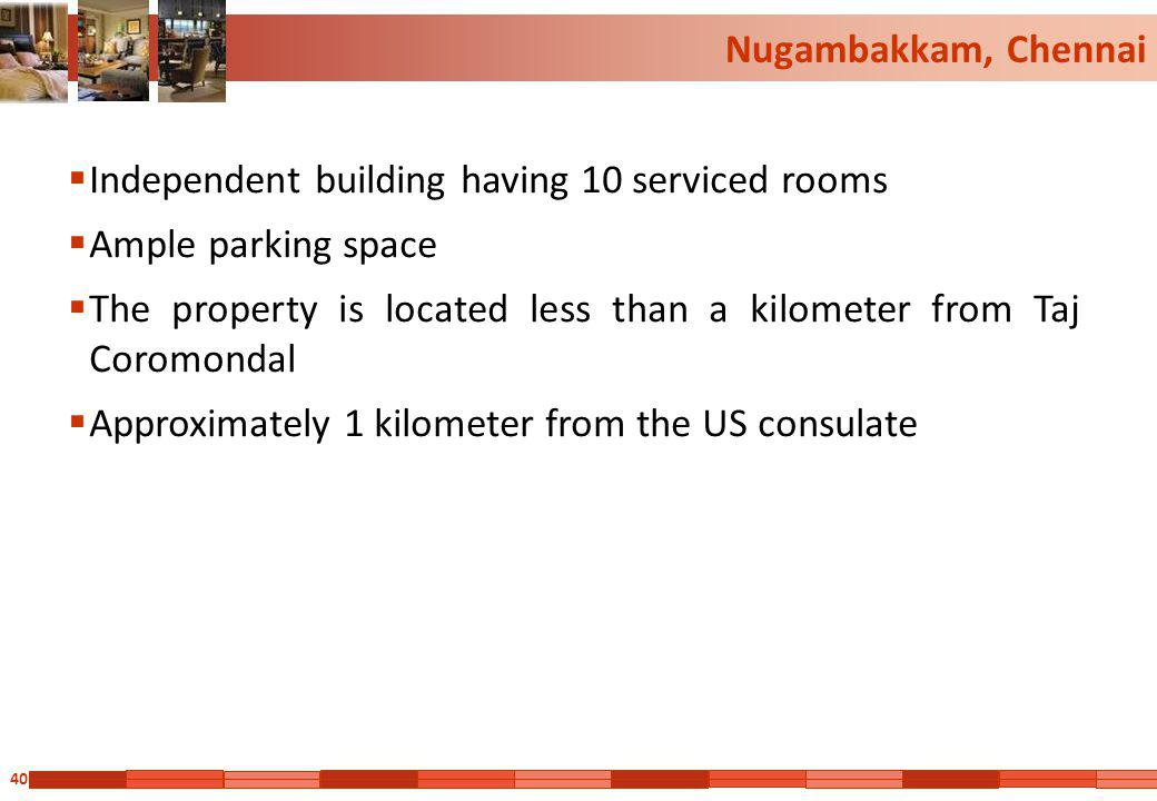 Nugambakkam, Chennai Independent building having 10 serviced rooms. Ample parking space.