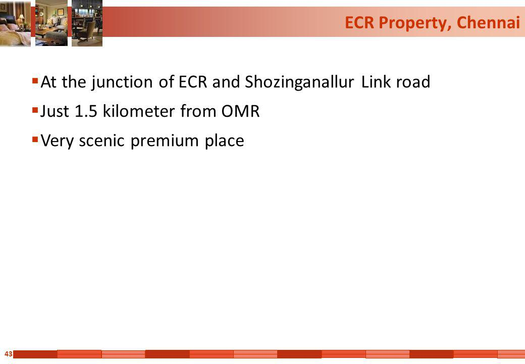 ECR Property, Chennai At the junction of ECR and Shozinganallur Link road. Just 1.5 kilometer from OMR.