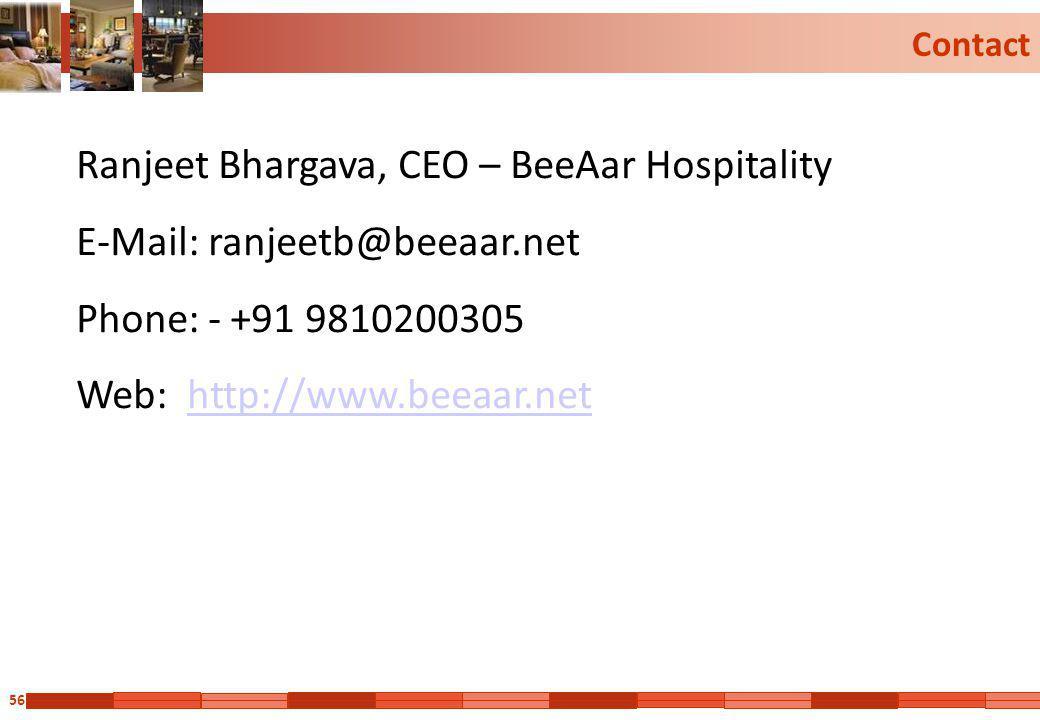 Ranjeet Bhargava, CEO – BeeAar Hospitality E-Mail: ranjeetb@beeaar.net