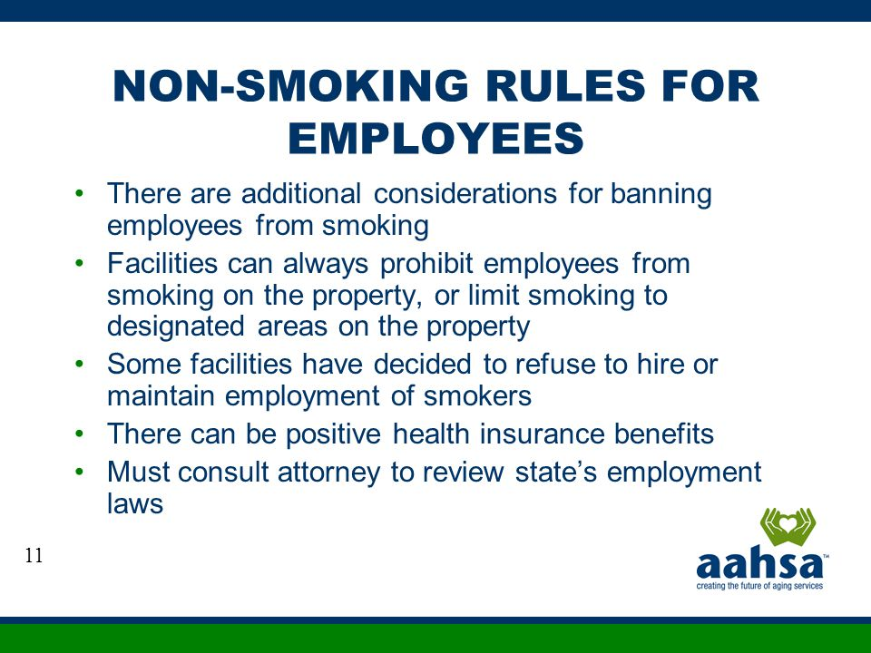 NON-SMOKING RULES FOR EMPLOYEES