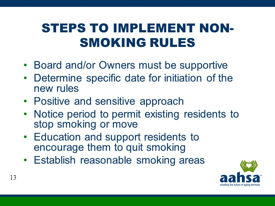 STEPS TO IMPLEMENT NON- SMOKING RULES