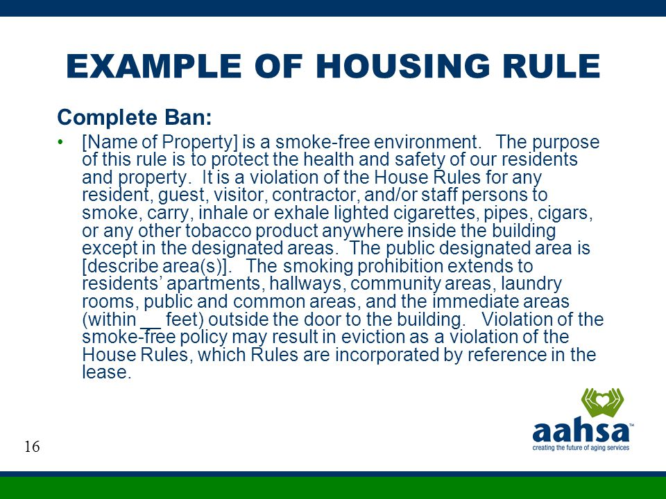 EXAMPLE OF HOUSING RULE