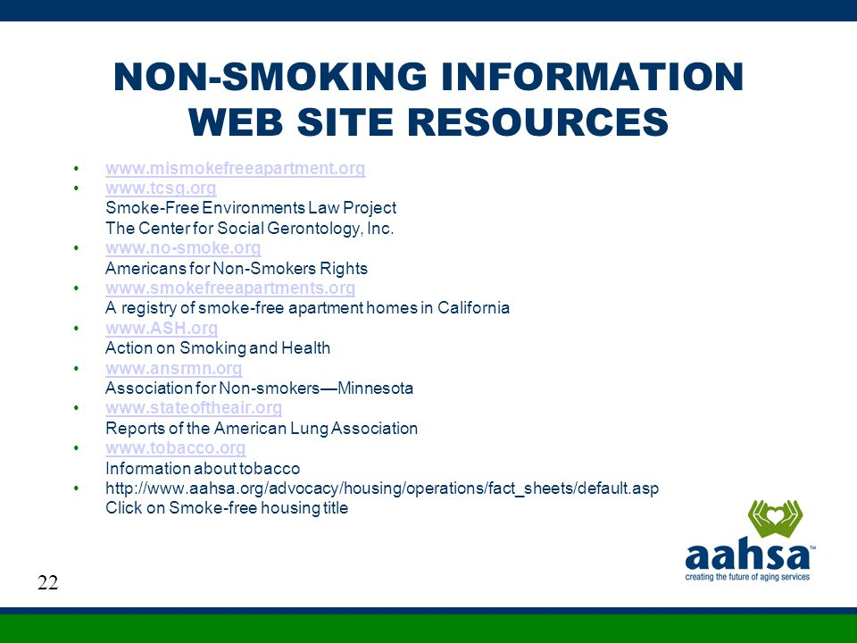 NON-SMOKING INFORMATION WEB SITE RESOURCES