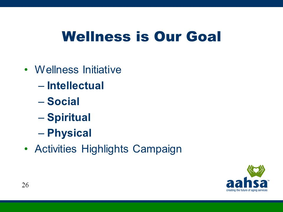 Wellness is Our Goal Wellness Initiative Intellectual Social Spiritual