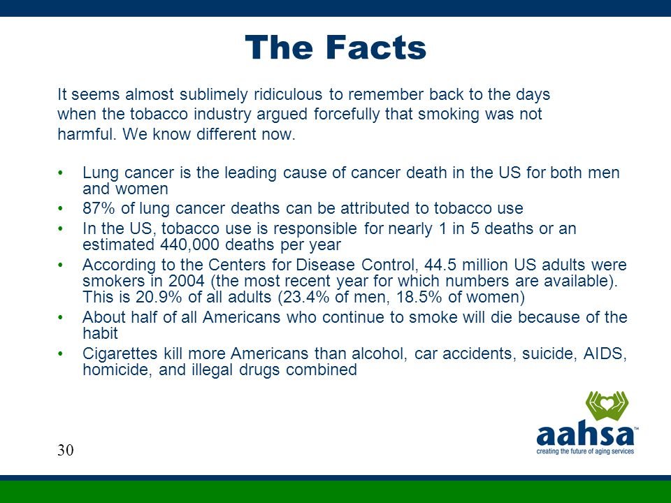 The Facts It seems almost sublimely ridiculous to remember back to the days. when the tobacco industry argued forcefully that smoking was not.