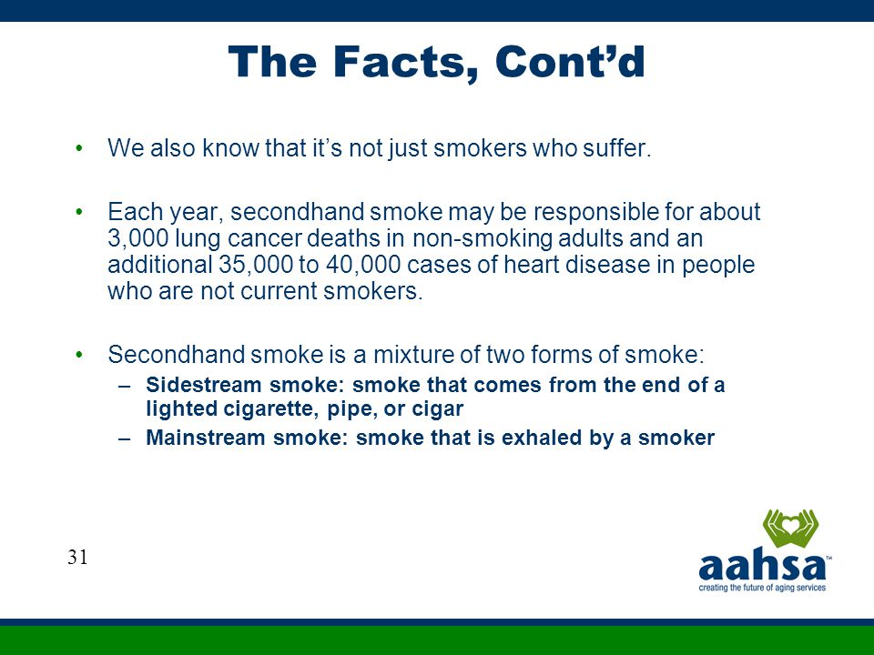 The Facts, Cont'd We also know that it's not just smokers who suffer.