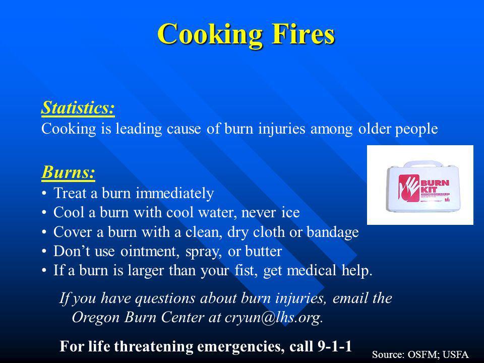 Cooking Fires Statistics: Burns: