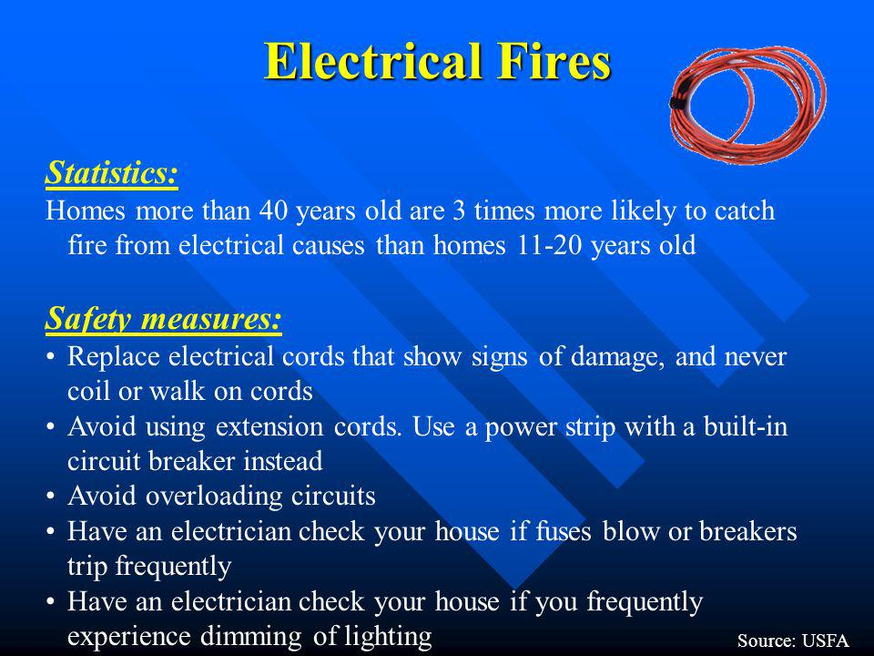 Electrical Fires Statistics: Safety measures: