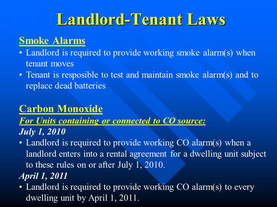 Landlord-Tenant Laws Smoke Alarms Carbon Monoxide