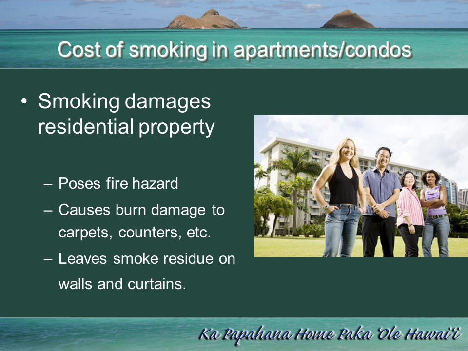 Cost of smoking in apartments/condos