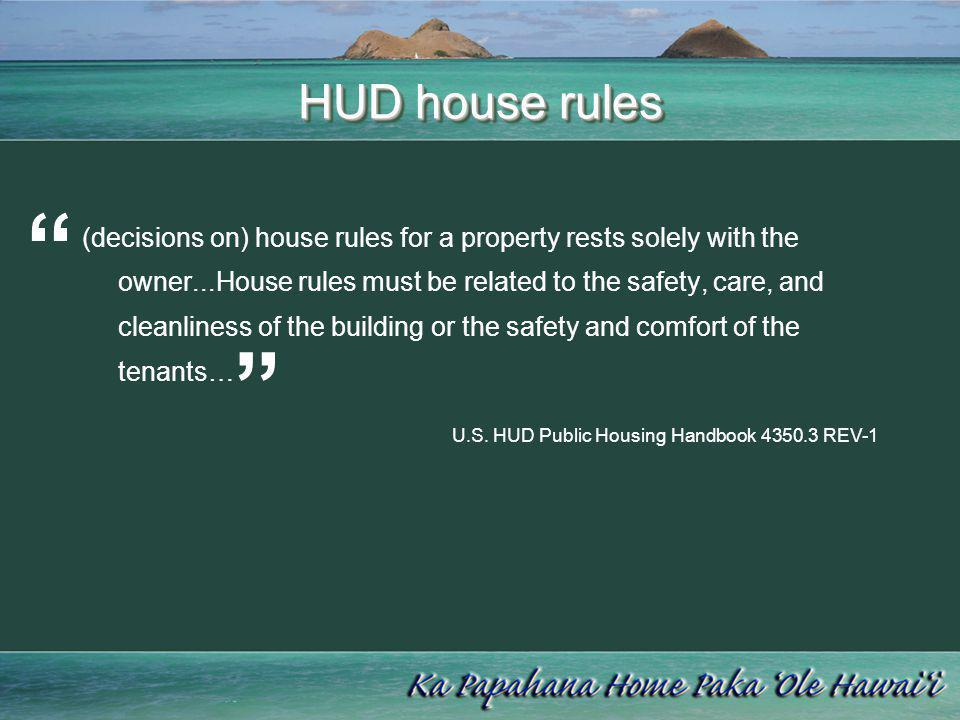 HUD house rules