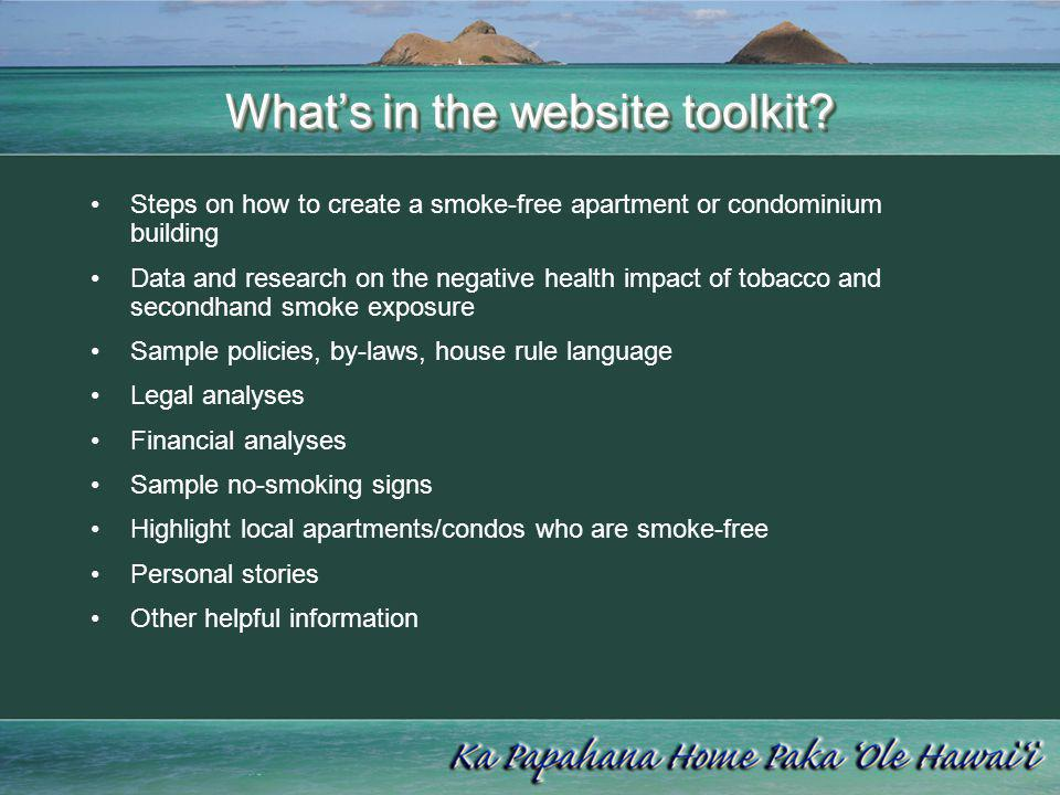 What's in the website toolkit