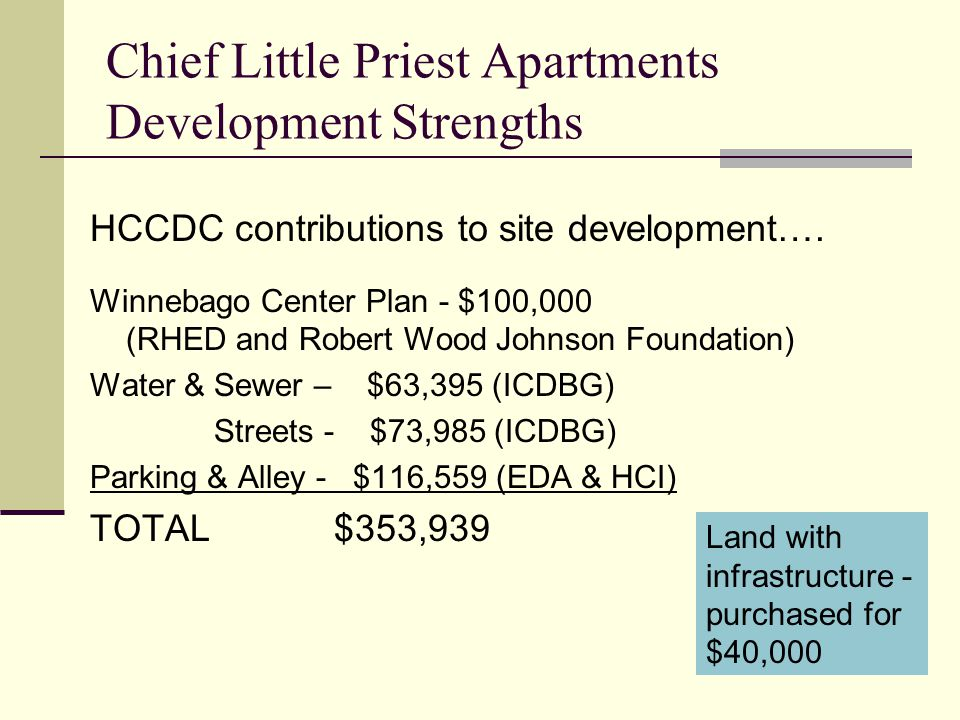 Chief Little Priest Apartments Development Strengths