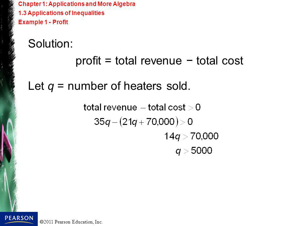 profit = total revenue − total cost