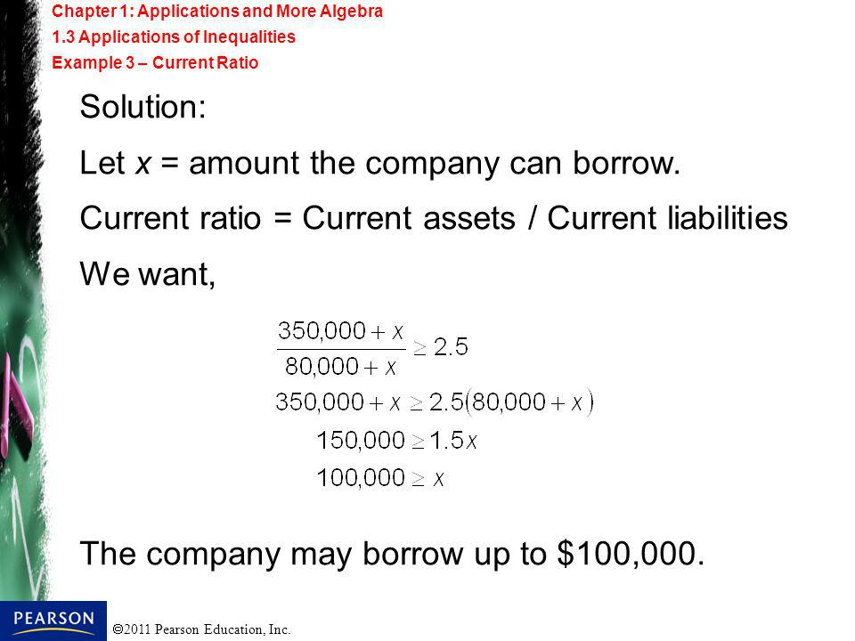 Let x = amount the company can borrow.