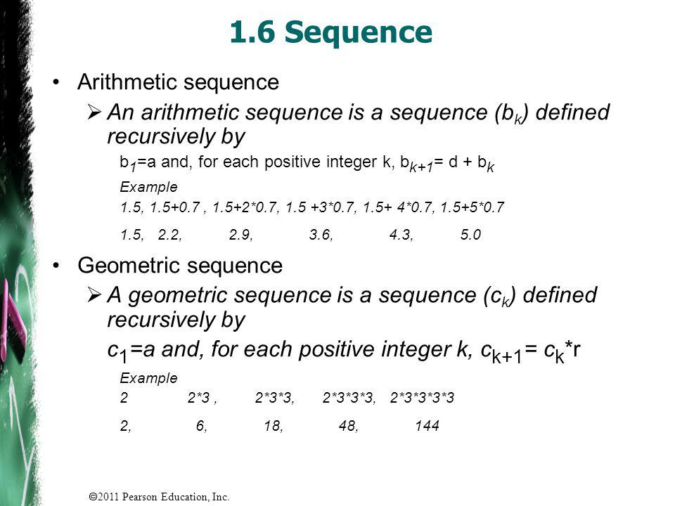 1.6 Sequence Arithmetic sequence