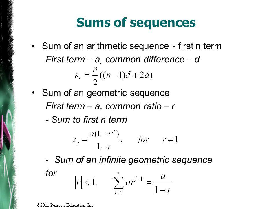 Sums of sequences Sum of an arithmetic sequence - first n term