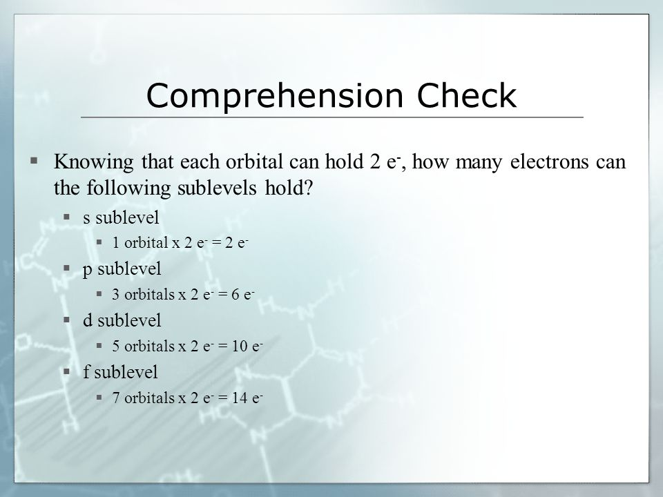 Comprehension Check Knowing that each orbital can hold 2 e-, how many electrons can the following sublevels hold