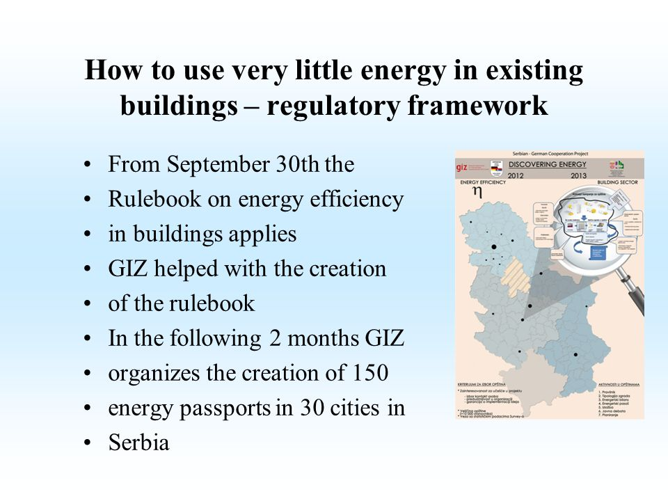 How to use very little energy in existing buildings – regulatory framework