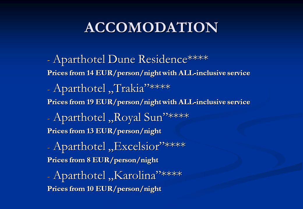 """ACCOMODATION Aparthotel Dune Residence**** Aparthotel """"Trakia ****"""