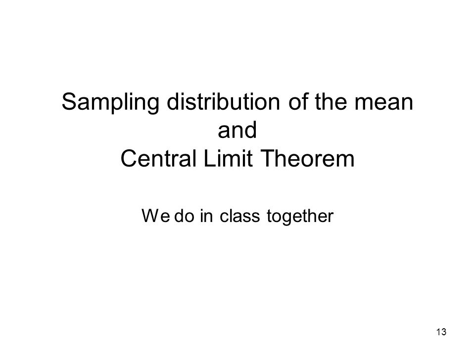 Sampling distribution of the mean and Central Limit Theorem