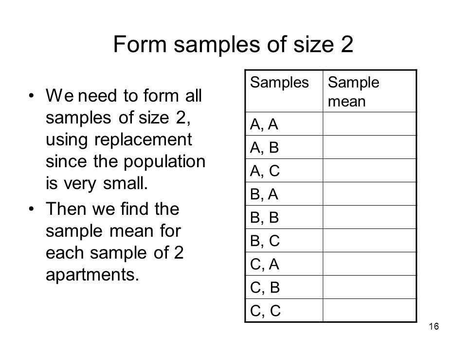 Form samples of size 2 Samples. Sample mean. A, A. A, B. A, C. B, A. B, B. B, C. C, A. C, B.
