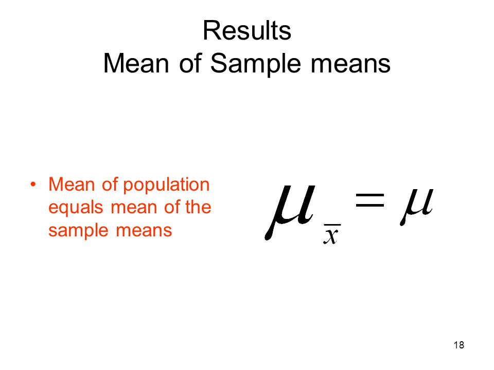 Results Mean of Sample means