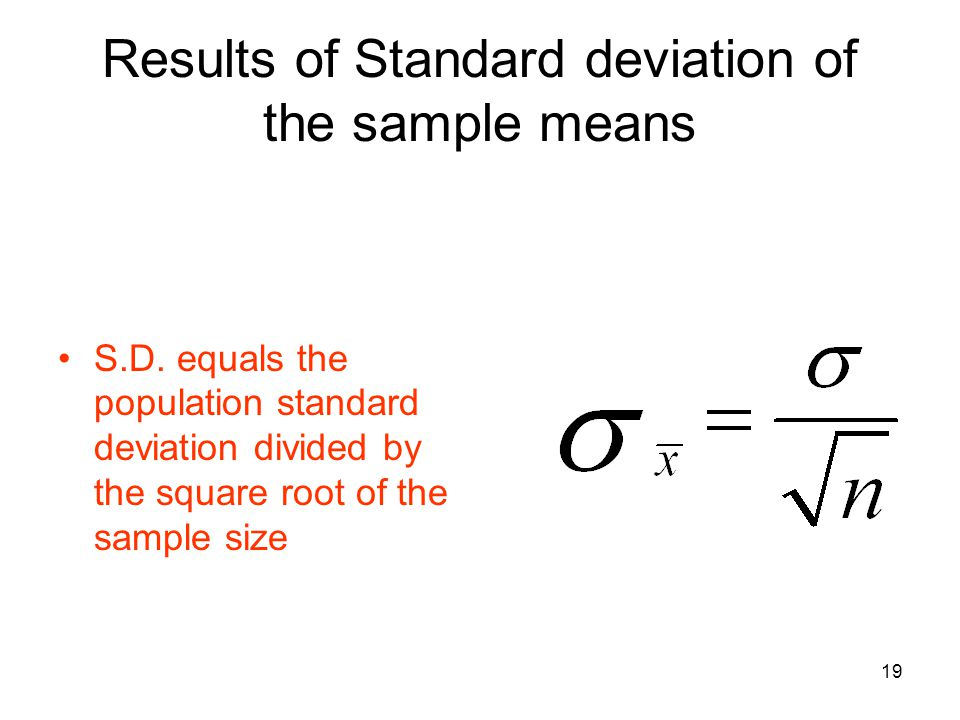 Results of Standard deviation of the sample means