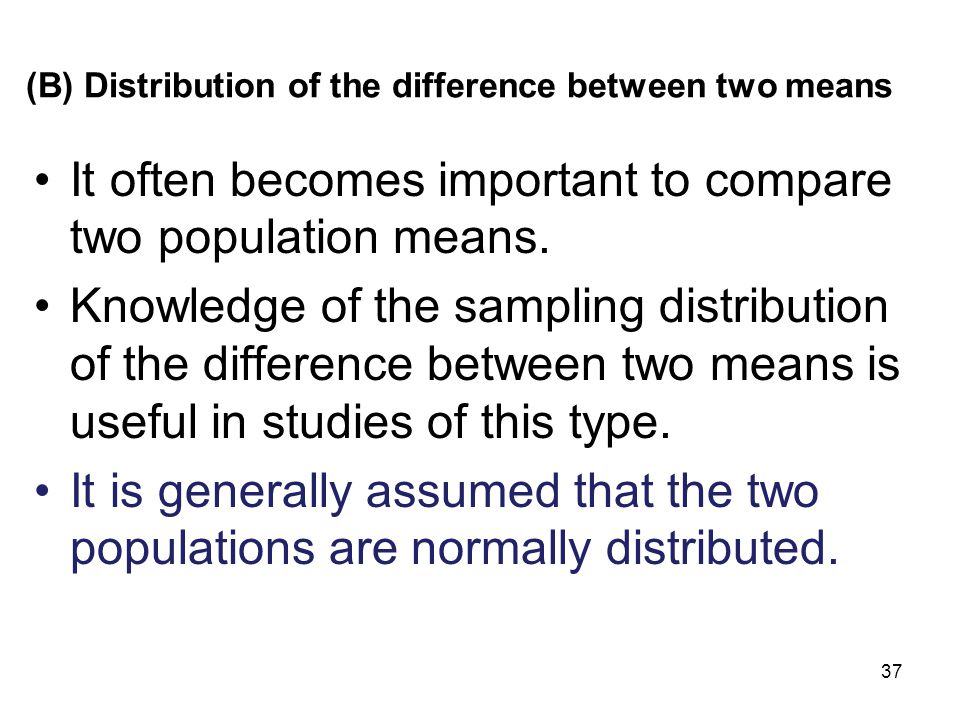 (B) Distribution of the difference between two means